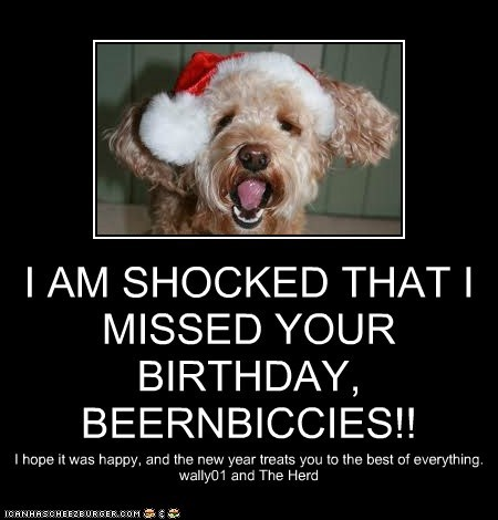 I AM SHOCKED THAT I MISSED YOUR BIRTHDAY, BEERNBICCIES!! I hope it was happy, and the new year treats you to the best of everything. wally01 and The Herd