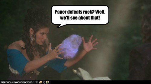 Paper defeats rock? Well, we'll see about that!