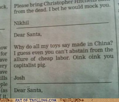 China,they took our jobs,santa,newspaper