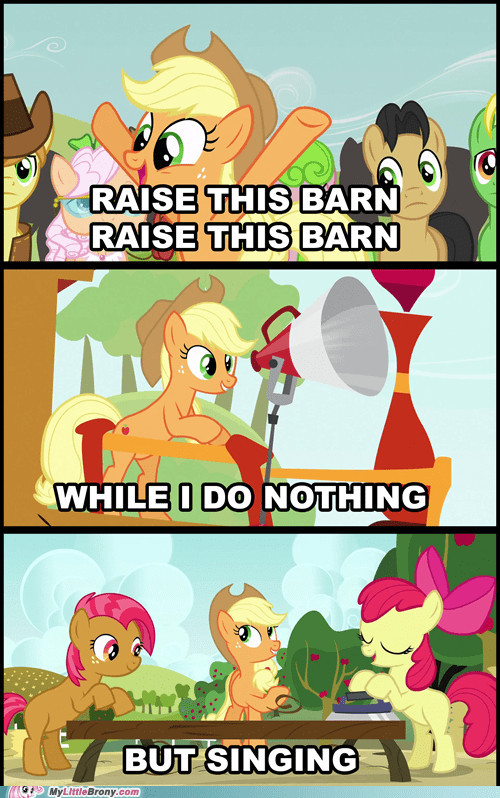 Music,racist barn,raise this barn,hard working pony