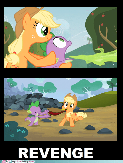 help breathing,spike,applejack,revenge