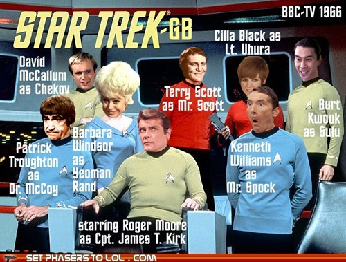britain,Captain Kirk,McCoy,patrick troughton,uhura,bbc,Star Trek,Roger Moore