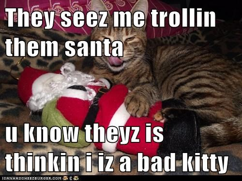 They seez me trollin them santa  u know theyz is thinkin i iz a bad kitty