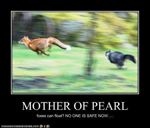 MOTHER OF PEARL foxes can float? NO ONE IS SAFE NOW.....