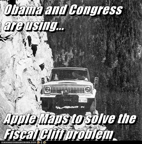 Obama and Congress are using...   Apple Maps to solve the Fiscal Cliff problem