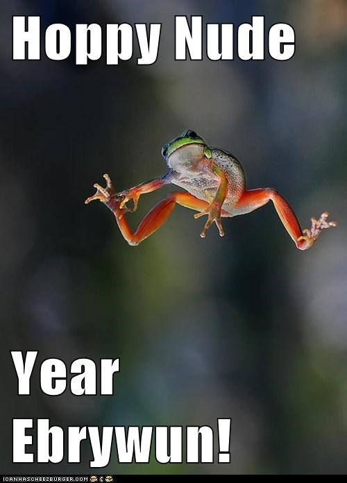hoppy pun happy new year jumping frogs - 6930318336