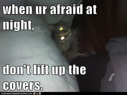 when ur afraid at night,  don't lift up the covers.