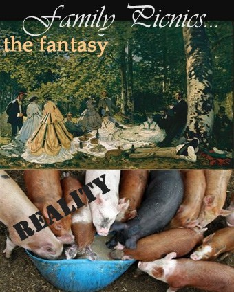 classic art,family picnics,pig,expectation vs reality