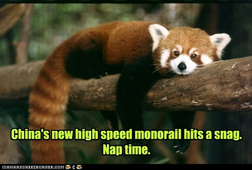 China's new high speed monorail hits a snag. Nap time.