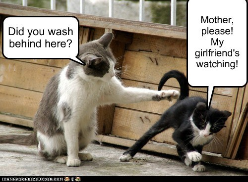 Did you wash behind here? Mother, please! My girlfriend's watching!
