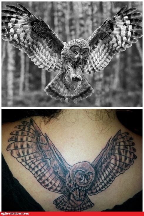 Ugliest Tattoos Owl Bad Tattoos Of Horrible Fail Situations That