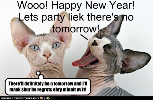 Wooo! Happy New Year! Lets party liek there's no tomorrow! _ There'll definitely be a tomorrow and i'll maek shur he regrets ebry minnit ov it!