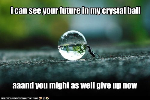 might as well,water,give up,drop,crystal ball,ants,future