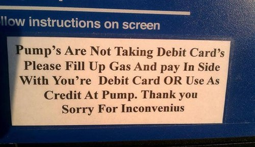 apostrophe,sign,gas station,spelling
