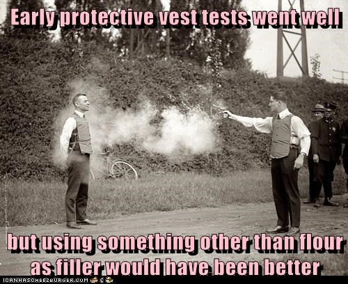 bulletproof vests,tests,flour,shooting