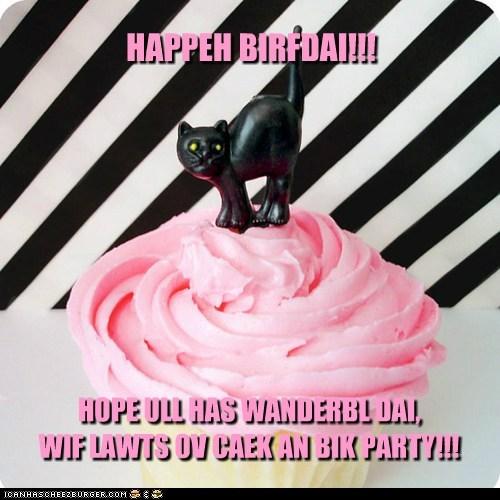 HAPPEH BIRFDAI!!! HOPE ULL HAS WANDERBL DAI, WIF LAWTS OV CAEK AN BIK PARTY!!!