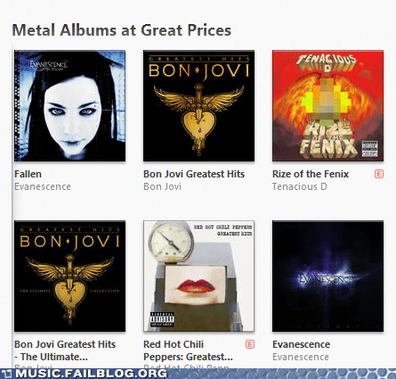 Evanescence,iTunes,red hot chili peppers,heavy metal,bon jovi