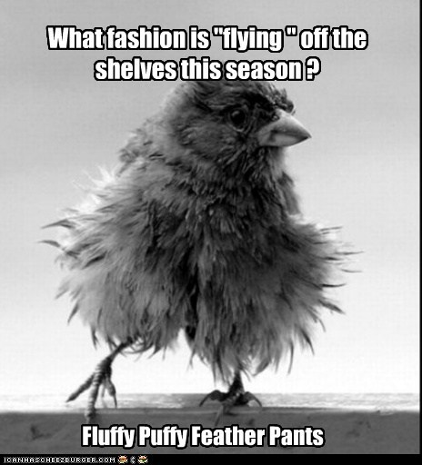 """What fashion is """"flying """" off the shelves this season ? Fluffy Puffy Feather Pants"""