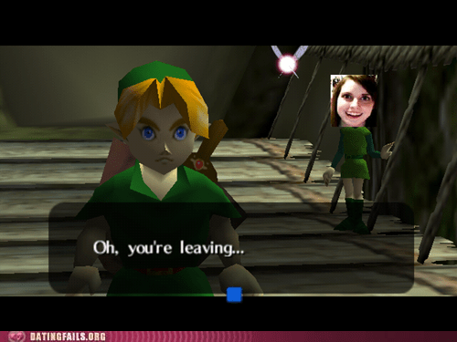 stay,you're leaving,legend of zelda,overly attached girlfriend
