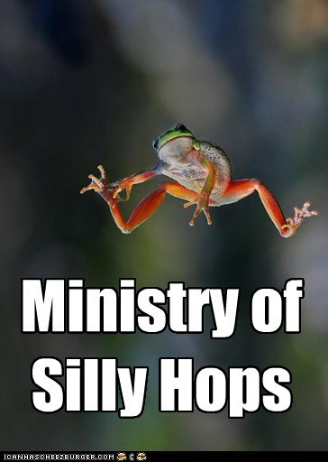 ministry of silly walks,hops,hopping,boing,frogs