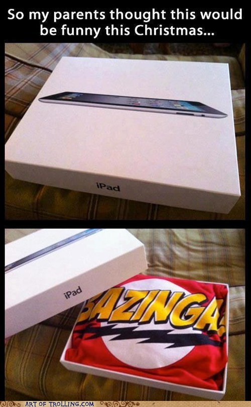 christmas,present,ipad,bazinga,shirt,apple