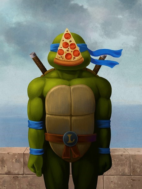 art,TMNT,pizza,magritte,son of man,painting