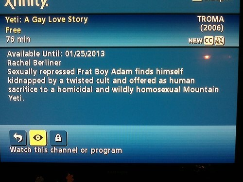 cult yeti Movie gay tv guide