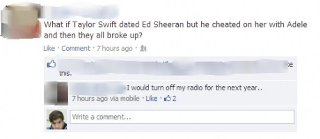taylor swift adele facebook Ed Sheeran