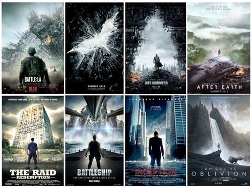 cliches,Inception,the dark knight rises,posing,movie posters,oblivion,the same,star trek into darkness