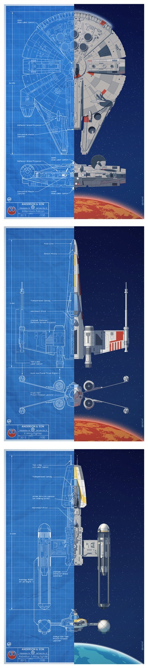 Y-Wing Millenium Falcon rebels star wars posters Fan Art X-Wing Fighter space ships - 6938510080