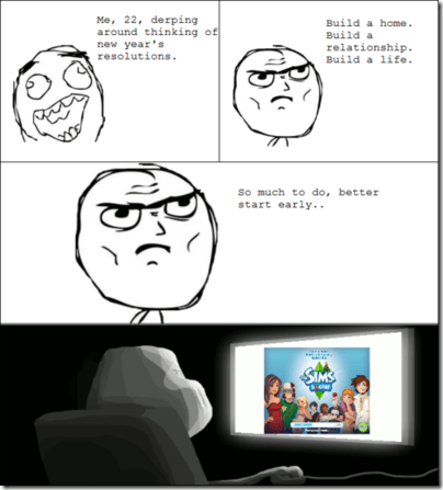 new years resolutions,The Sims,Rage Comics