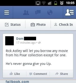 never gonna give you up disney up pixar rick astley failbook g rated