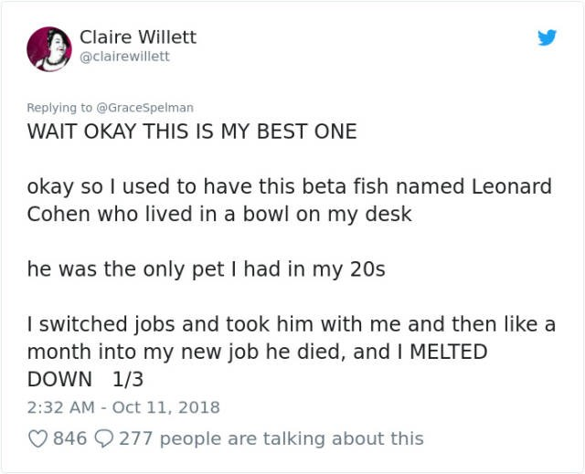 Tweets about organizing a fish funeral