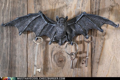 keys spooky decor key holder home bat