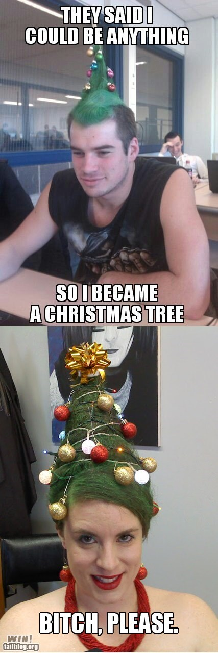 mohawks hairdos christmas trees - 6940396800