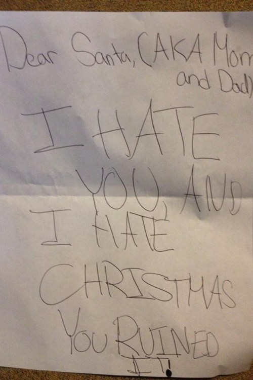 hate,children's letters,santa,g rated,Parenting FAILS