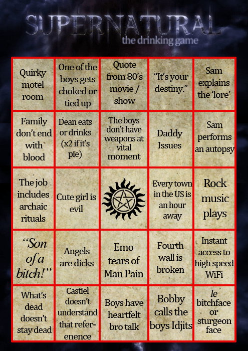 alcohol drunk suoernatural drinking games bingo after 12