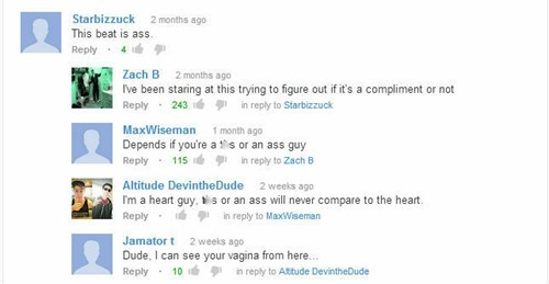 youtube comments beats adjectives