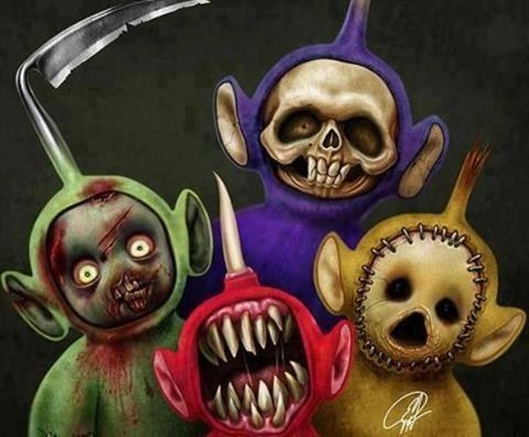 terror,teletubbies,art,TV,dead