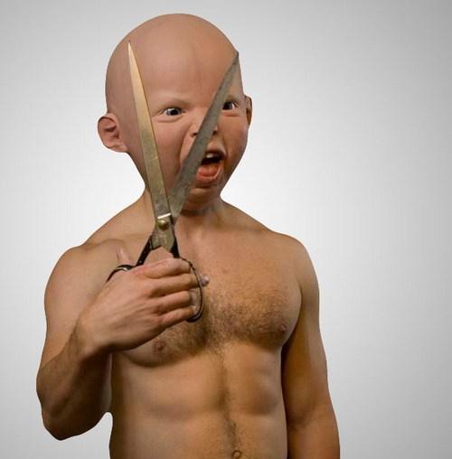 baby creepy mask scissors - 6940849920