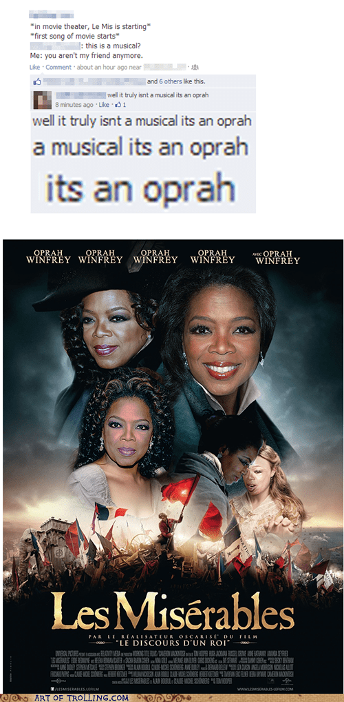 Oprah Winfrey,Movie,photoshop,facebook,musical,Les Misérables
