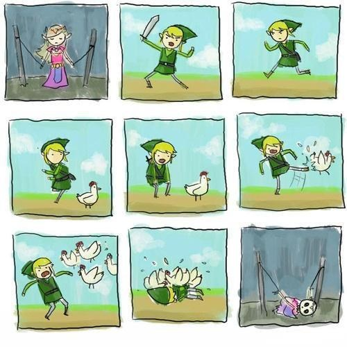 link,legend of zelda,comic,cucco
