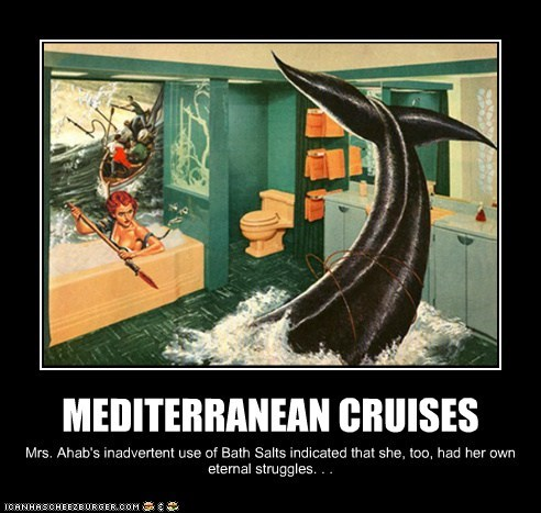 MEDITERRANEAN CRUISES Mrs. Ahab's inadvertent use of Bath Salts indicated that she, too, had her own eternal struggles. . .