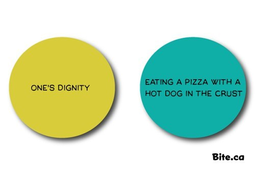 stuffed crust pizza,hot dog,dignity,venn diagram,food