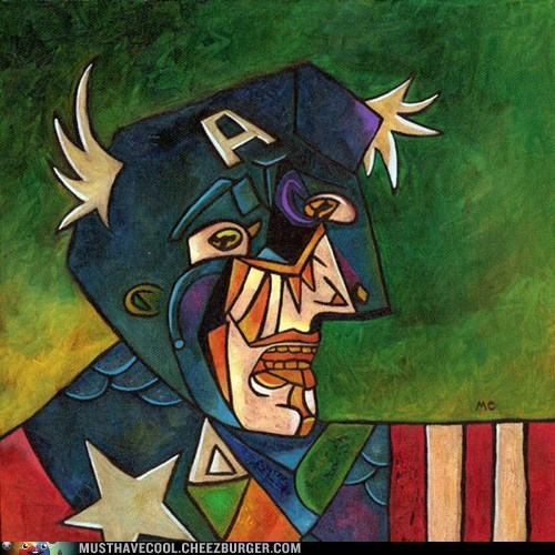 art print captain america weird picasso