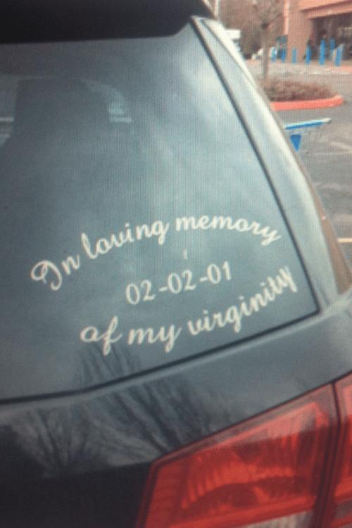 classy bumber sticker virginity - 6943647744