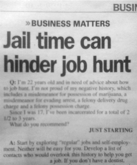 job,job hunt,headline,work,Probably bad News,newspaper