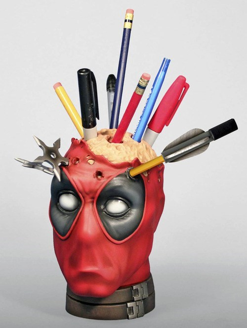 marvel accessories pens desk deadpool Office pencils cup - 6943844096