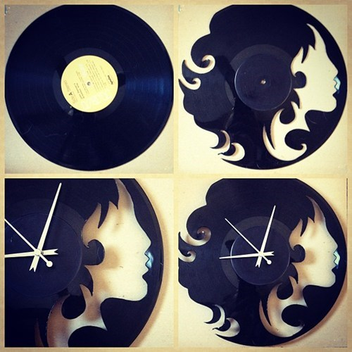 vinyl,record,DIY,clock