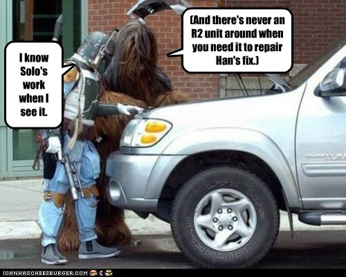 star wars,car,fix,wookie,broken,Han Solo,boba fett